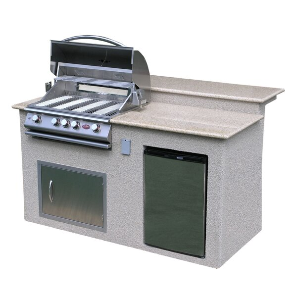 4 Burner Built In Gas Grill Island with Refrigerat