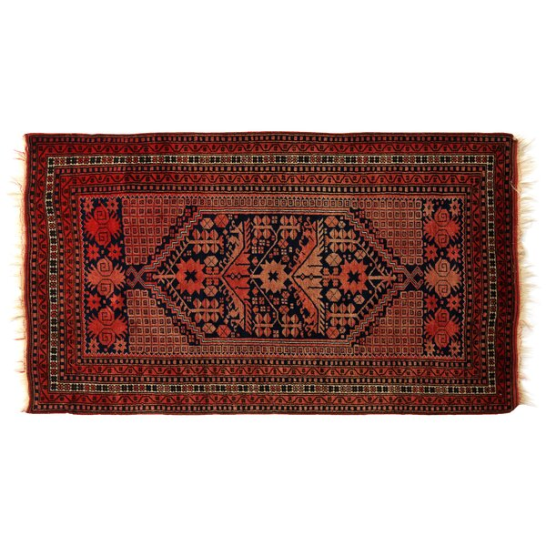 One-of-a-Kind Hand-Woven Wool Navy/Red Area Rug by Exquisite Rugs