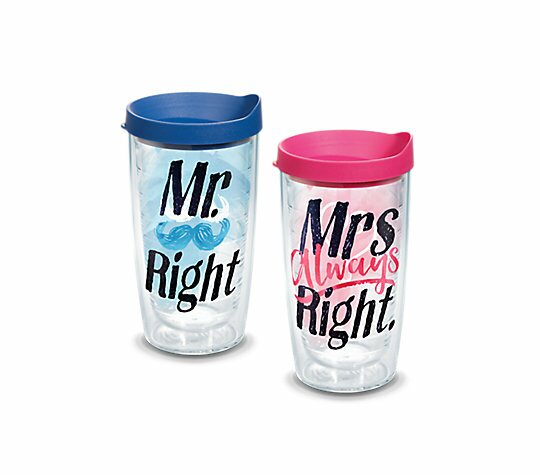 Mr. Right and Mrs. Always Right 2 Piece 16 oz. Plastic Travel Tumbler Set by Tervis Tumbler