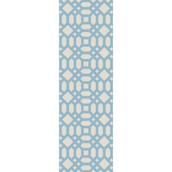 Upper Shockerwick Hand-Woven Beige/Blue Indoor/Outdoor Area Rug by Wrought Studio