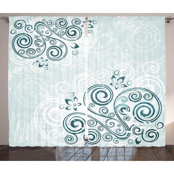 Elegant Petals Graphic Print Room Darkening Rod Pocket Curtain Panels (Set of 2) by East Urban Home