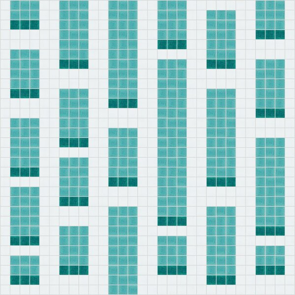 Urban Essentials Genome 3/4 x 3/4 Glass Glossy Mosaic in Deep Teal by Mosaic Loft
