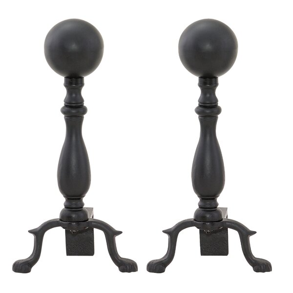 2 Piece Wrought Iron Andiron (Set Of 2) By Uniflame