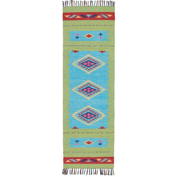 Rocky Hand Woven Blue/Green Area Rug by Bungalow Rose