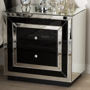 Baxton Studio Sancia Hollywood Regency Glamour Style Mirrored 2 Drawer Nightstand by Wholesale Interiors