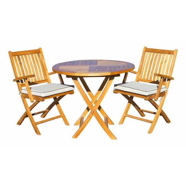 Wolfe 3 Piece Teak Bistro Set with Sunbrella Cushions Bayou Breeze W000545206