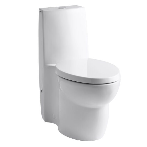 Saile Skirted One-Piece Elongated Dual-Flush Toilet with Top Actuator and Saile Quiet-Close Toilet Seat with Quick-Release Functionality by Kohler