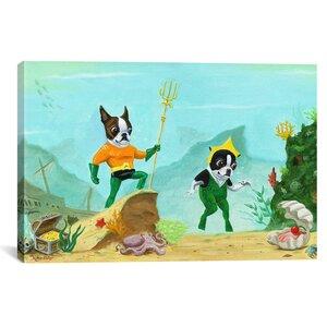 'Aqua Terrier Print' by Brian Rubenacker Graphic Art on Canvas by Wrought Studio