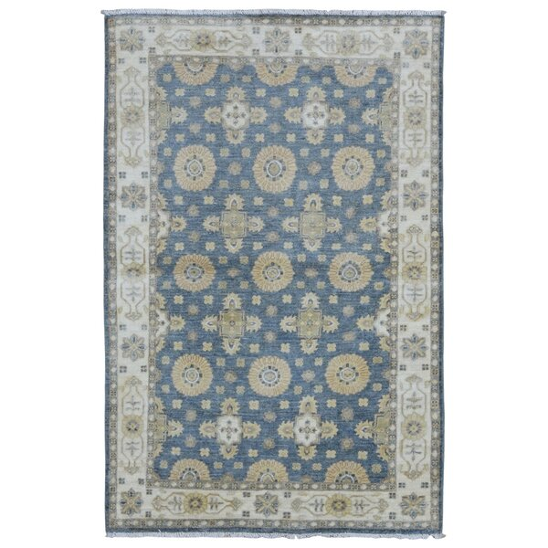 One-of-a-Kind Noi Peshawar Hand-Woven Wool Blue Area Rug by Isabelline