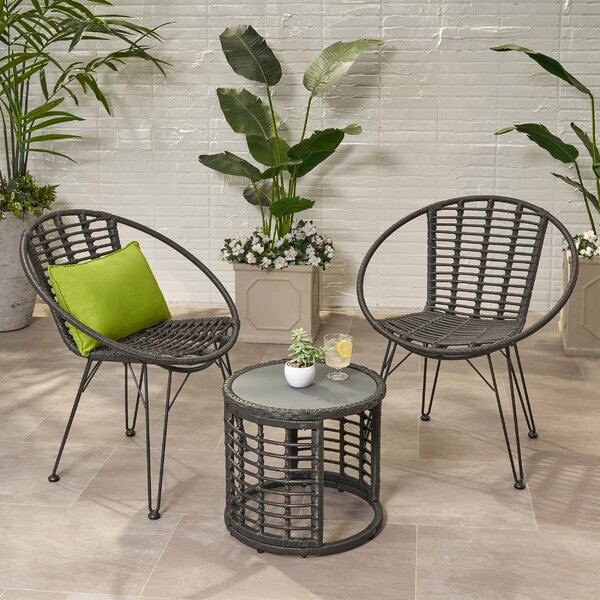Coffelt Boho 3 Piece Seating Group by Bungalow Rose