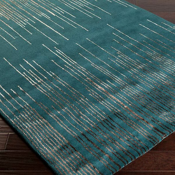 Romola Tufted Wool Emerald/Camel Area Rug by Ivy Bronx
