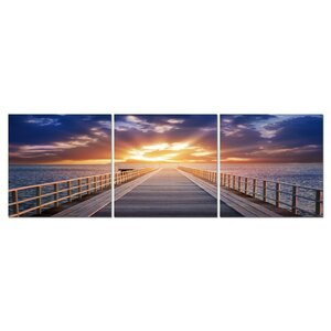 Baxton Studio Pier Sunrise Mounted 3 Piece Framed Photographic Print on Wrapped Canvas Set by Wholesale Interiors