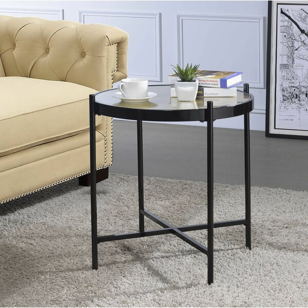 Cheriton Contemporary Faux Alligator Leather Skin Living Room End Table by Brayden Studio Brayden Studio
