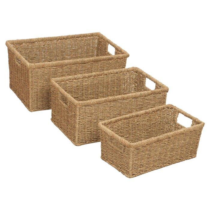 23cm Seagrass Storage Basket 3 Piece Set