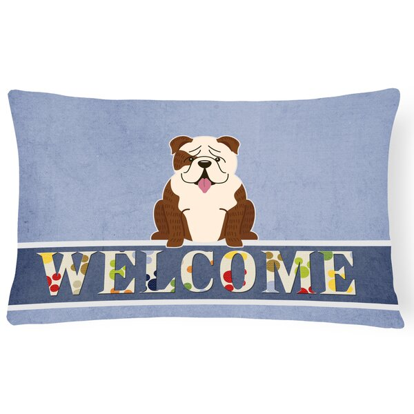 Rosendale English Bulldog Brindle Welcome Lumbar Pillow by Red Barrel Studio