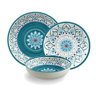 Best Reviews Moroccan Medallion Melamine 12 Piece Dinnerware Set, Service for 4 By TarHong