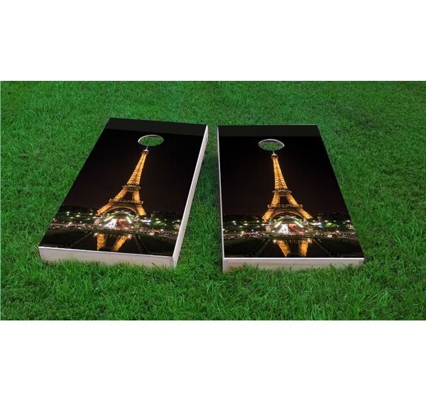 Eiffel Tower at Night in Paris France Cornhole Game Set by Custom Cornhole Boards