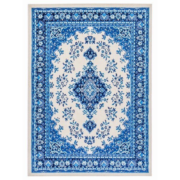 Rowes Medallion Persian Blue/Cream Area Rug by Bloomsbury Market