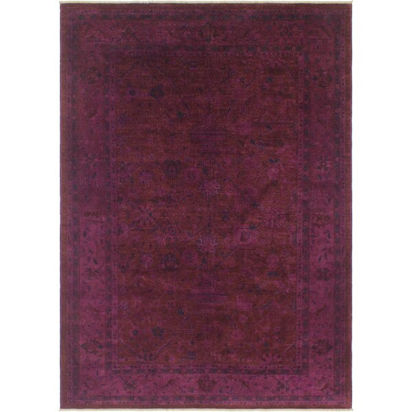 One-of-a-Kind Karr Over Dyed Claretta Hand-Knotted Wool Purple/Blue Area Rug by Bloomsbury Market