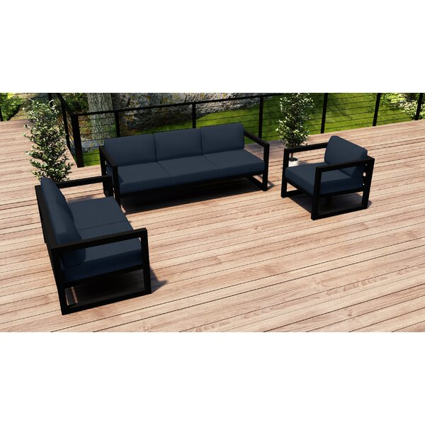Remi 3 Piece Sofa Seating Group with Sunbrella Cushions by 17 Stories