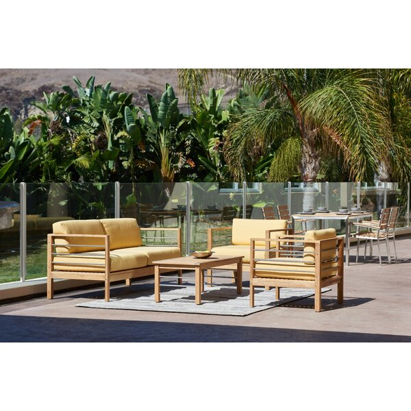 Crisfield 4 Piece Teak Sunbrella Sofa Seating Group with Cushions by Rosecliff Heights
