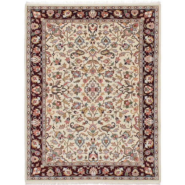 Azaiah Hand-Knotted Cream Area Rug by Alcott Hill