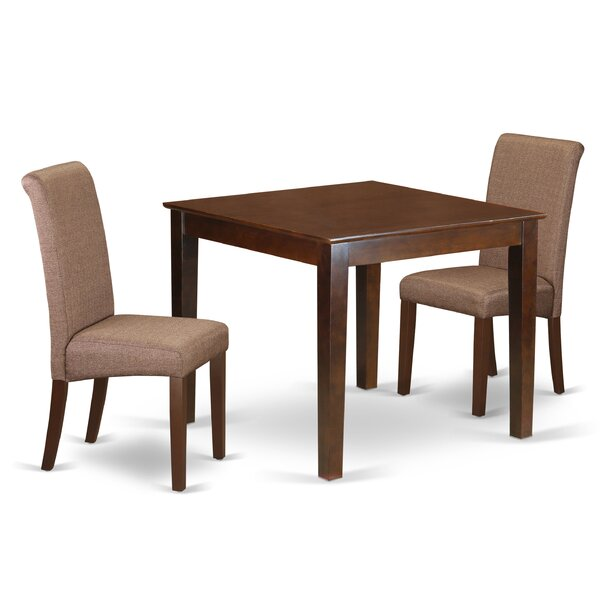 Kelsie Square Table 3 Piece Extendable Solid Wood Breakfast Nook Dining Set by Winston Porter