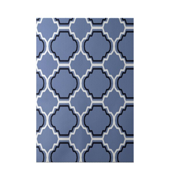 Road to Morocco Geometric Print Cornflower Indoor/Outdoor Area Rug by e by design