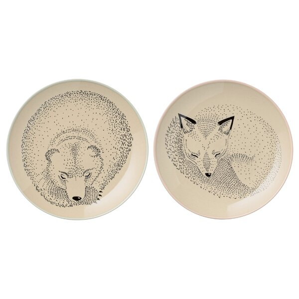 Lorraine 6.5 Ceramic Bear and Fox Plate 2 Piece Set by Viv + Rae