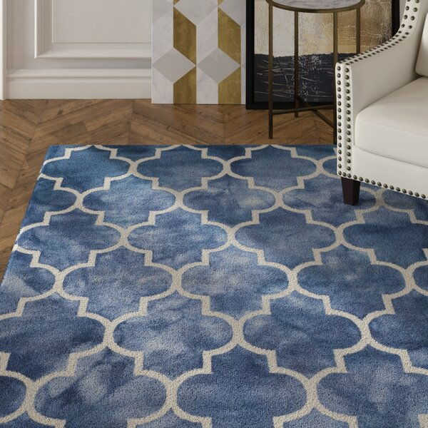 Berman Hand-Tufted Wool Navy/Ivory Area Rug by House of Hampton