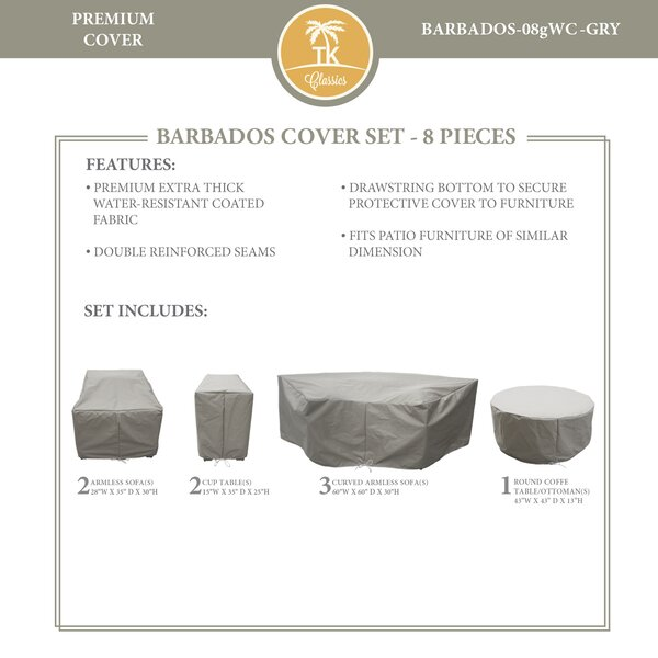 Barbados 8 Piece Water Resistant Patio Sofa Cover Set by TK Classics