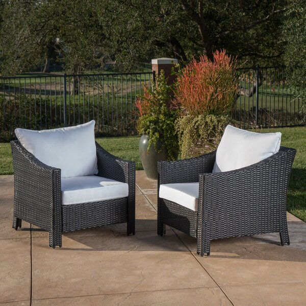 Hoopes Wicker Patio Chair with Cushions (Set of 2) by Alcott Hill