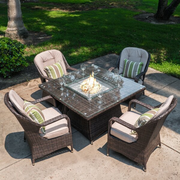 Flaherty 5 Piece Dining Set with Cushions and Firepit Bayou Breeze W001304696