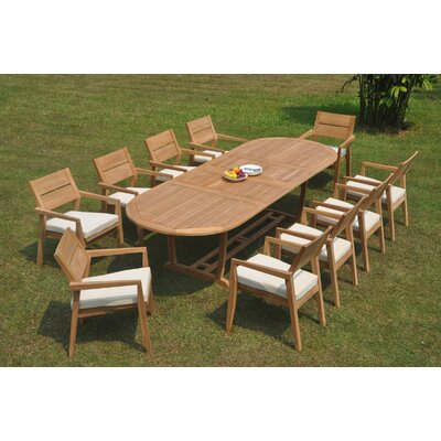 Rosecliff Heightscrewellwalk 11 Piece Teak Dining Set Rosecliff Heights Table Size 30 5 H X 82 L X 40 W Dailymail