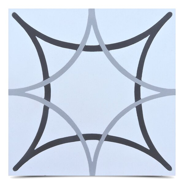 Sebta 8 x 8 Cement Field Tile in Gray/Black by Moroccan Mosaic