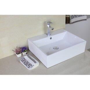 Read Reviews Ceramic Rectangular Vessel Bathroom Sink with Overflow ByAmerican Imaginations