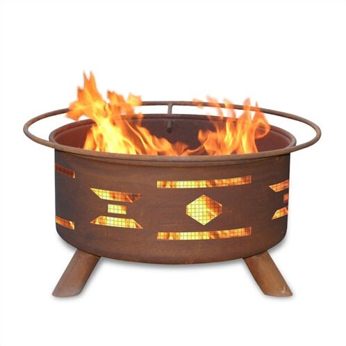 Classic Mosaic Santa Fe Steel Wood Burning Fire Pit by Patina Products