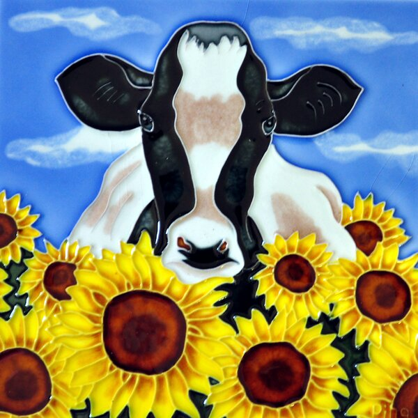 Cow with Sunflowers Tile Wall Decor by Continental Art Center