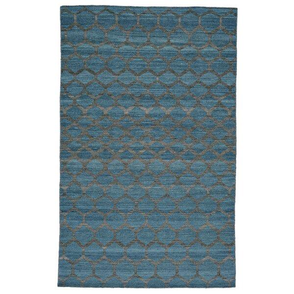 Hallock Hand-Loomed Teal Wool Pile Area Rug by Brayden Studio
