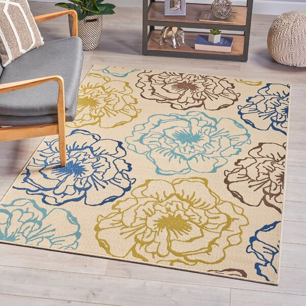 Lincolnwood Floral Ivory Area Rug by Red Barrel Studio