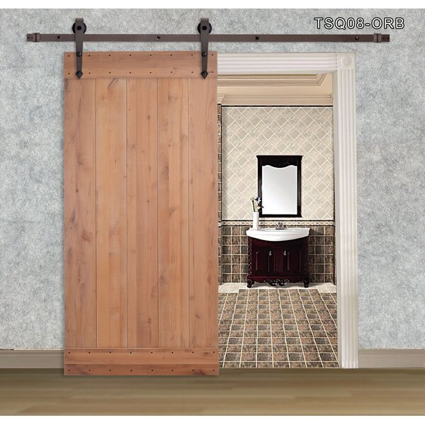 Vertical Slat Primed Solid Wood Panelled Slab Interior Barn Door by Calhome