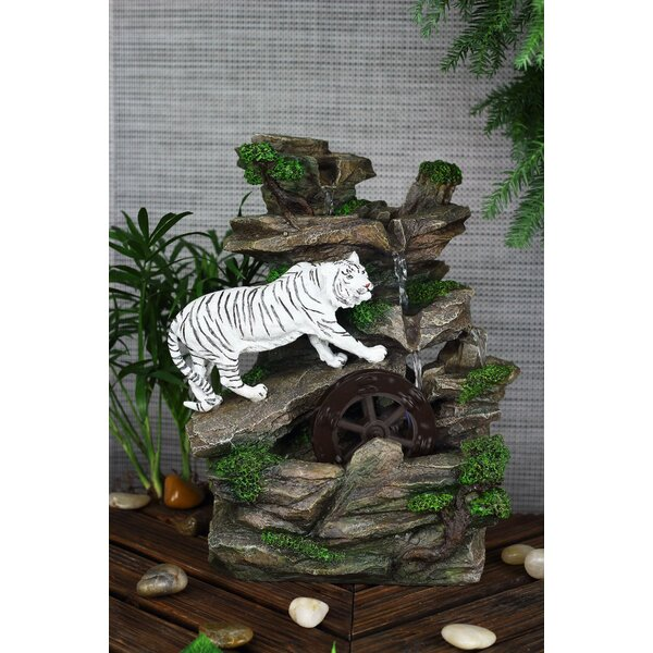 Resin/Fibreglass White Tiger Table Fountain with LED Light by OK Lighting