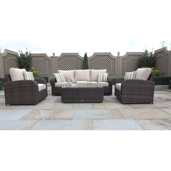 Perillo 4 Piece Sofa Seating Group with Cushions