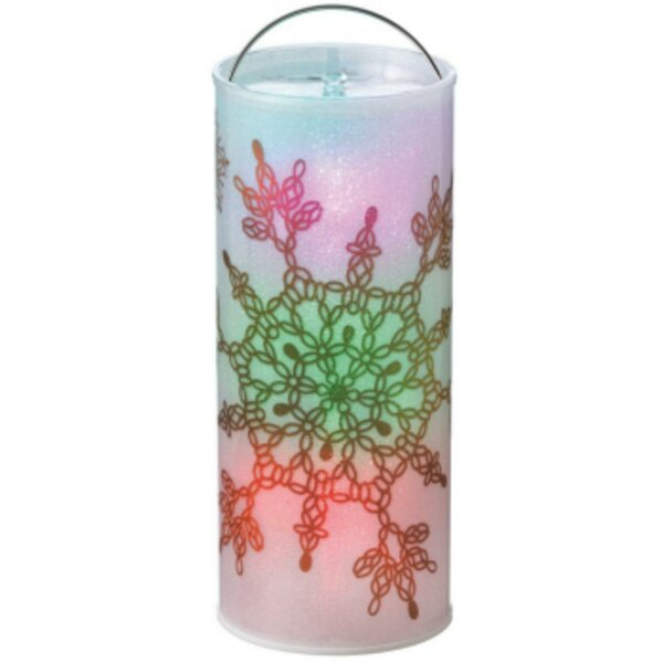 Batter Operated Transparent Art Deco Snowflake LED Color Changing Lighted Christmas Metal/Plastic Lantern by The Holiday Aisle