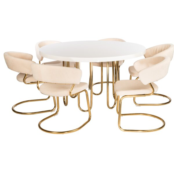 Dannie 7 Piece Dining Set by Everly Quinn