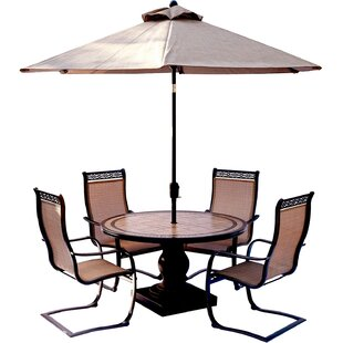 Bucci 5 Piece Outdoor Dinning Set with Table Umbrella By Fleur De Lis Living