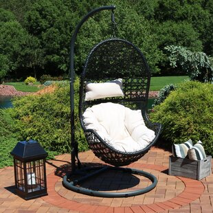 Sunnydaze Cordelia Hanging Egg Chair With Stand   Resin Wicker   Grey  Cushions