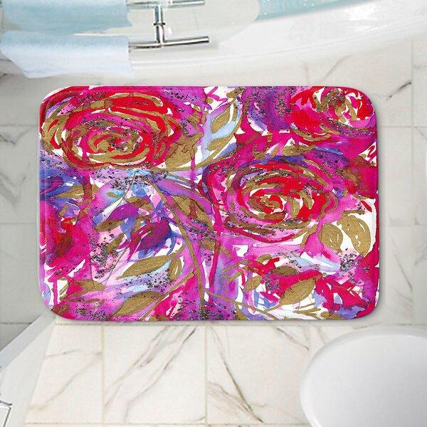 Rose Combustion Non-Slip Floral Bath Rug
