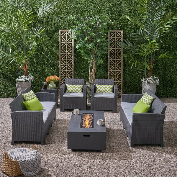 Carmen Outdoor 6 Piece Wicker Print Sofa Seating Group with Cushions by Bay Isle Home