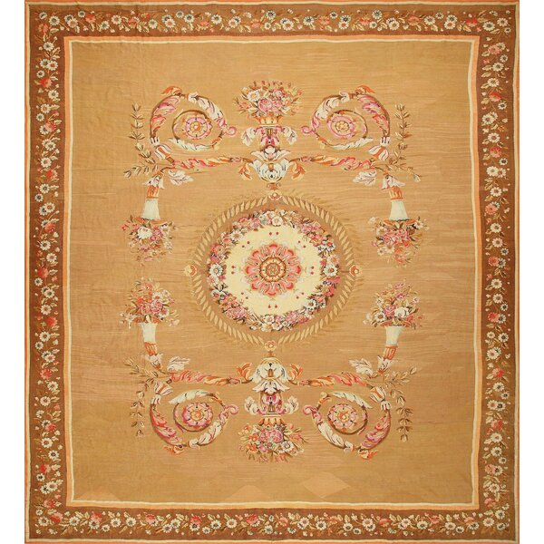 One-of-a-Kind French Hand-Knotted Brown 15'4 x 16'8 Wool Area Rug